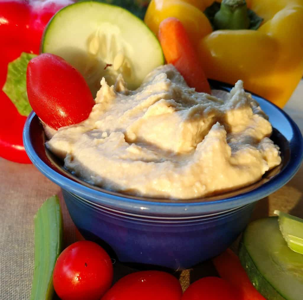 basic hummus in blue bowl with vegetables