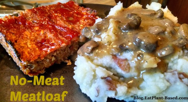 vegan meat loaf with mashed potatoes
