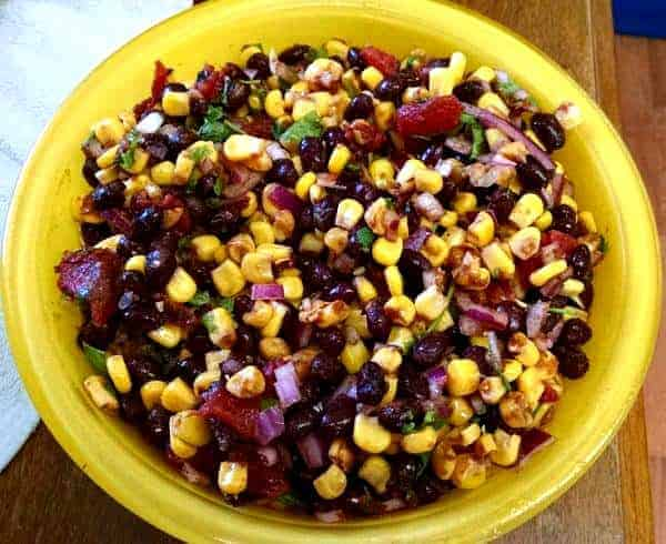 Easy Black Bean & Corn Salad in yellow bowl