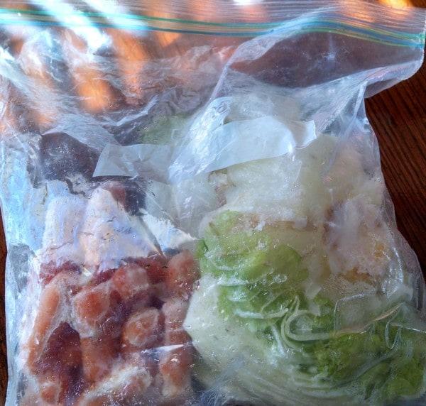 Vegetable Stock from Scraps. veggie scraps in freezer bag