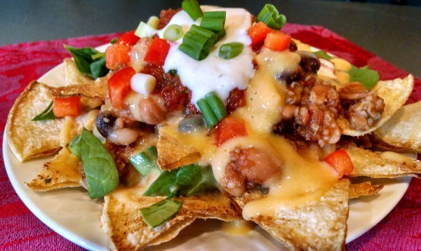 vegan sour cream on nachos