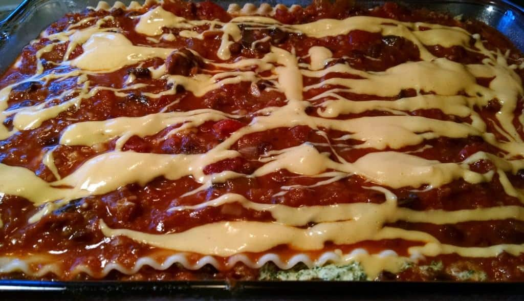 vegan spinach lasagna in baking dish
