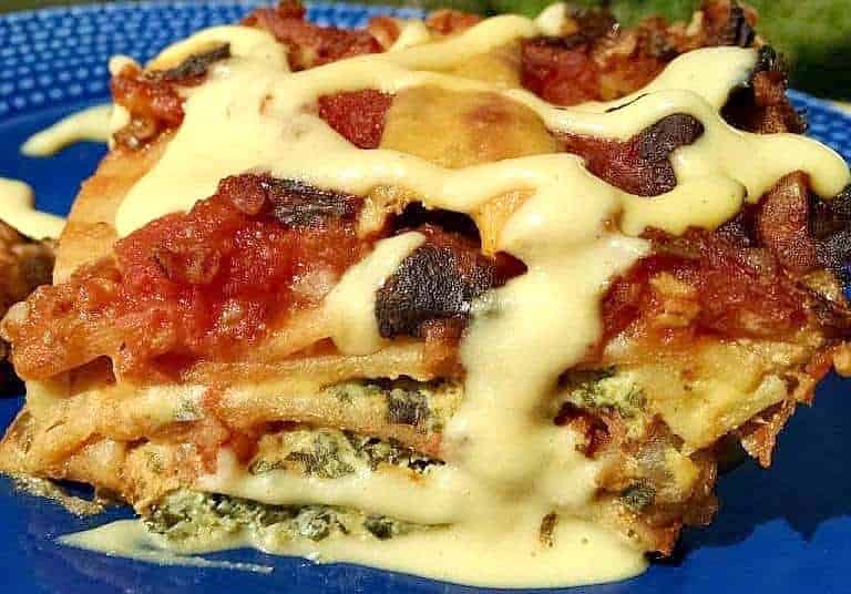 Spinach Black Bean Lasagna on blue plate