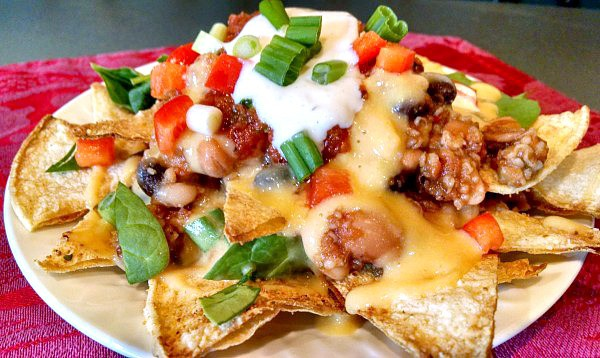 vegan nachos with dairy free cheese sauce