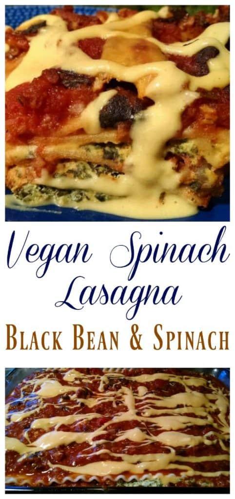vegan spinach lasagna collage