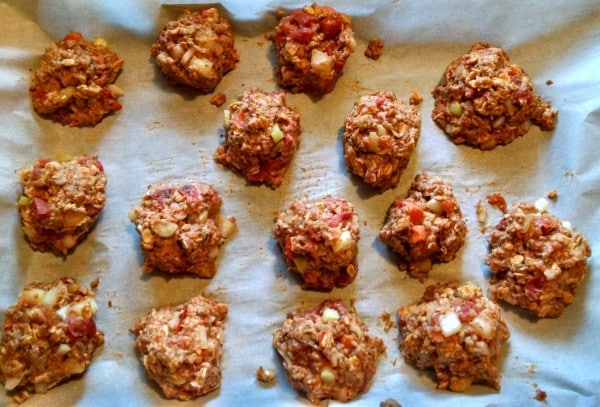 vegan meatballs on baking sheet