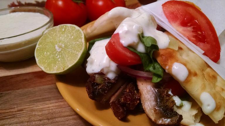 Vegan Gyros seitan Vegan Gyros with Tzatziki Sauce