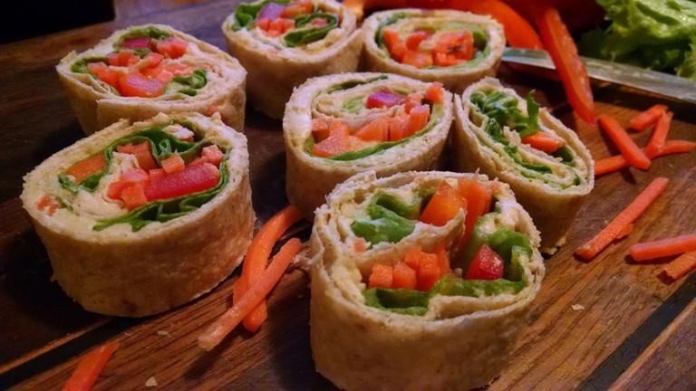 vegan party snacks veggie rolls