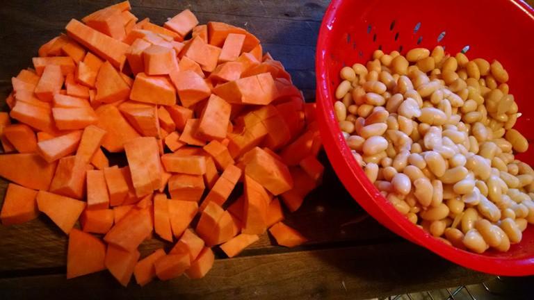 white bean soup recipe. chopped sweet potatoes and beans