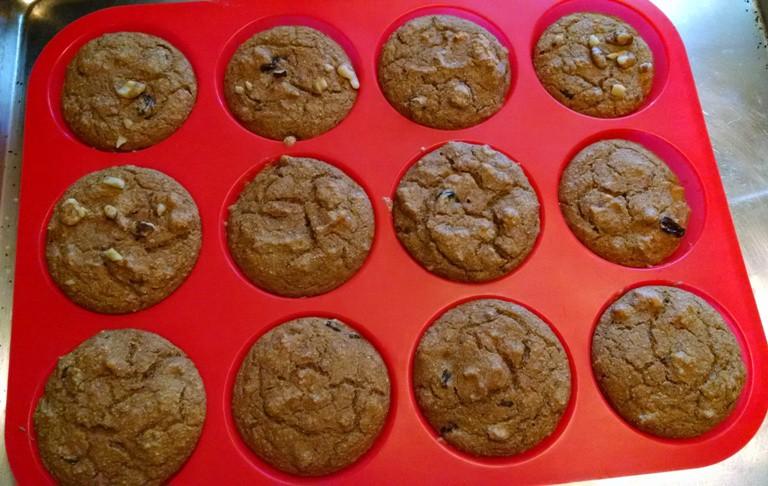 sweet potato vegan muffins in oil free baking sheet