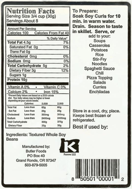 Soy Curls Recipe. soy curls nutrition label