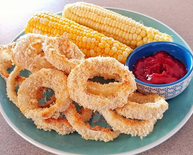 vegan party snacks oil free onion rings