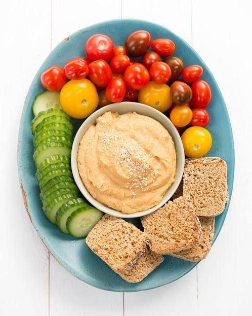 vegan party snacks oil free hummus