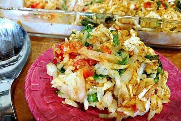 vegan hash brown casserole on pink plate