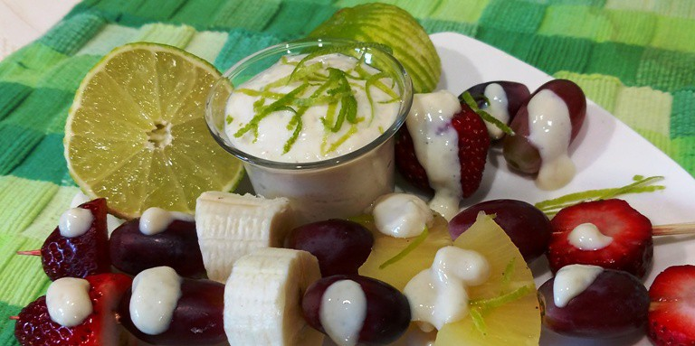 Fruit on a Skewer with Lime Sauce