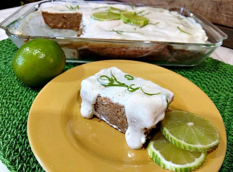 glazed key lime cake on yellow plate
