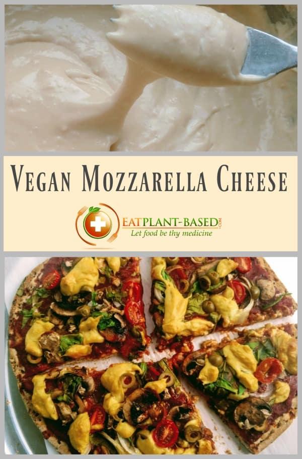 vegan mozzarella cheese on pizza.