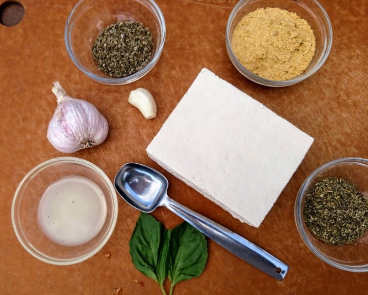 vegan ricotta cheese ingredients on cutting board