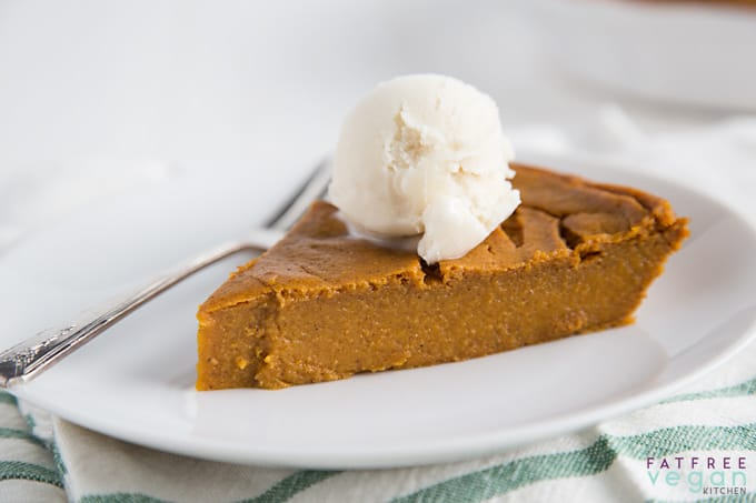 Impossible Vegan Pumpkin Pie from FatFreeVegan