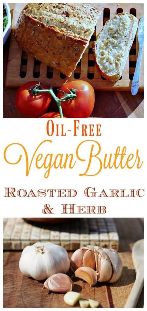 vegan garlic butter with bread on cutting board