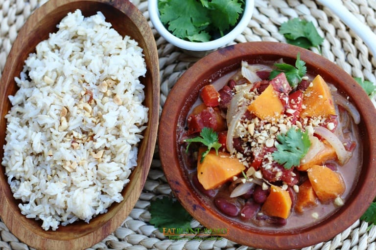 Vegan African Peanut Stew with Sweet Potatoes in wooden bowls